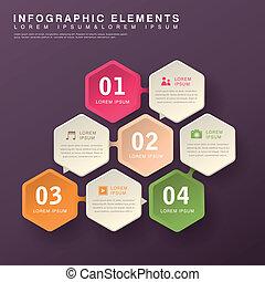 résumé, hexagone, infographics