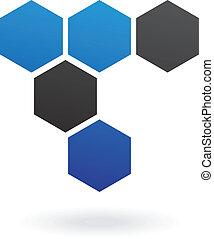 résumé, hexagone, rayon miel, icône