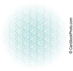 résumé, hexagons., fond