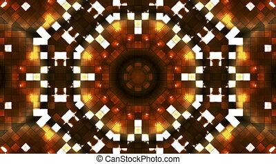 résumé, high-tech, boucle, lumière, émission, firey, doré, kaléidoscope, carrés, hd