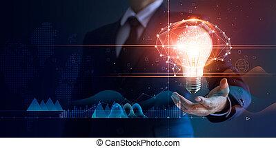 résumé, homme affaires, réseau, business, lumière, concept., innovation, virtuel, technologie, cerveau, connexion, fond, tenue, innovateur, interface, ampoule, technologies, futuriste, icône