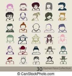 résumé, humain, collection, figure