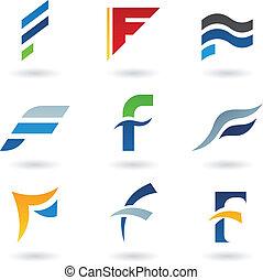 résumé, icônes, lettre f