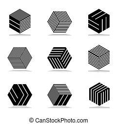 résumé, icônes, set., géométrique