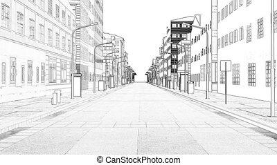 résumé, illustration, dessin, cityscape, ville, 3d, horizon...