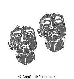résumé, illustration., figure, homme, aged., sketch., vecteur