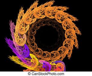 résumé, illustration, hélix, fond, fractal, cadre