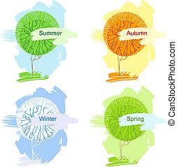 résumé, illustration, isolé, vecteur, arbres.
