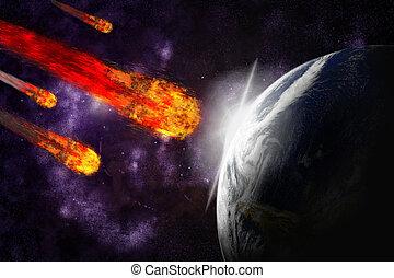 résumé, illustration, planète, arrière-plan., astéroïde, météore, la terre, impact., starfield