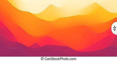 résumé, illustration., sun., sunset., montagneux,...