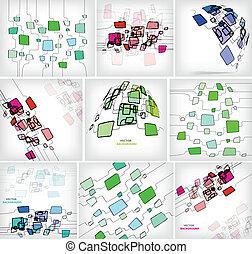 résumé, -, illustration, vecteur, fond, carrés
