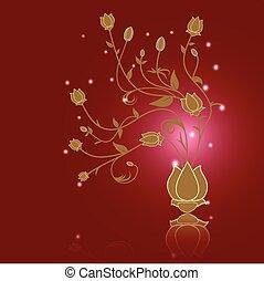 résumé, illustration, vecteur, fond, floral, rouges