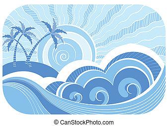 résumé, illustration, vecteur, paysage, mer, waves.