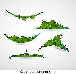 résumé, illustration, vecteur, vert, collection, herbe, brillant, cadre