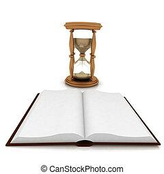 résumé, image, livre, fond, blanc, ouvert, sand-glasses