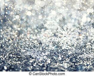 résumé, incandescent, noël, arrière-plan bleu, à, flocons neige
