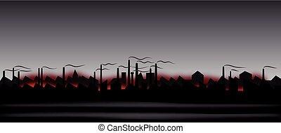 résumé, industriel, paysage