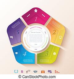 résumé, infographic, segments, conception, cercle, cinq