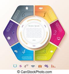 résumé, infographic, six, segments, conception, cercle