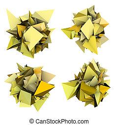 résumé, jaune, forme, épiné, blanc, 3d