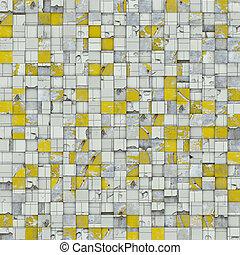 résumé, jaune, tuile mosaïque, blanc, toile de fond