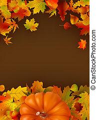 résumé, leaves., eps, automne, fond, 8