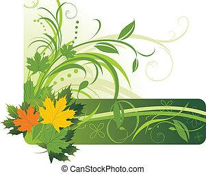 résumé, leaves., fond, érable