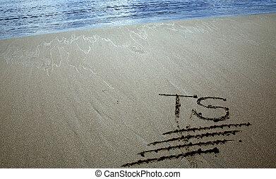 résumé, lettres, sable