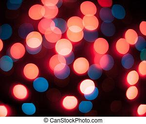 résumé, lights., bokeh., defocused, fond, année, nouveau, noël