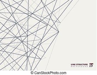 résumé, lignes, chevauchement, arrière-plan., blanc, structure