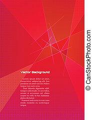 résumé, lignes, géométrique, fond, rouges