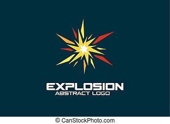 résumé, logo, pour, business, company., explosion, boom, éclater, éclaboussure, logotype, idea., promotion, concept., coloré, vecteur, icône
