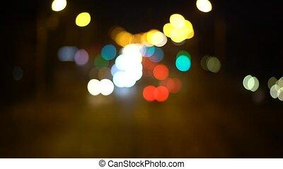 résumé, lumières, bokeh, trafic, fond, nuit