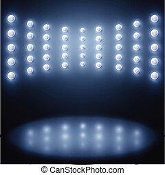 résumé, lumières, vecteur, étincelant, fond, étape