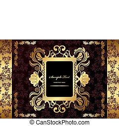 résumé, luxe, or, cadre