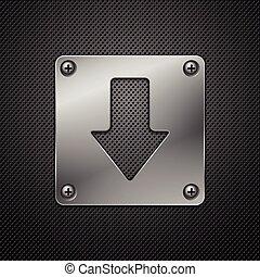 résumé, métal, téléchargement, vecteur, signe., arrière-plan., illustration.