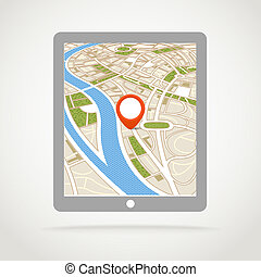 résumé, moderne, carte ville, gadget