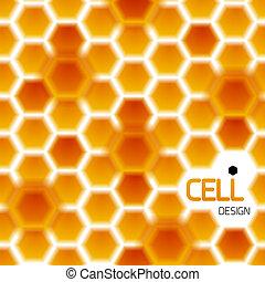 résumé, moderne, géométrique, miel, gabarit, cellules