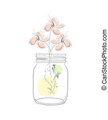 résumé, moderne, pot, illustration, maçon, fleurs