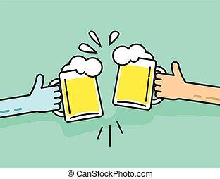 résumé, mousse, deux, bière, tenant mains, tintant lunettes