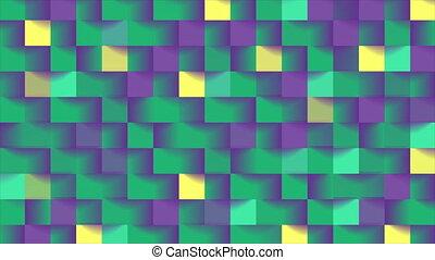 résumé, mouvement, coloré, carrés, technologie, mosaïque, géométrique, fond