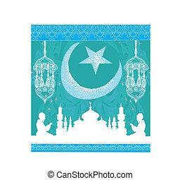 résumé, musulman, -, fond, prier, religieux, homme