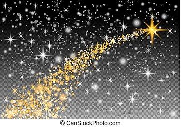 résumé, néon, courbé, pousses, spécial, haut., étincelant, moitié transparent, noël blanc, étoile, barbouillage, effet, bokeh., piste, fond, ligne, transparent, translucide, lueur, magie, lumière, vecteur, comète