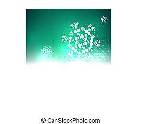 résumé, noël, clair, fond, brillant, flocon de neige
