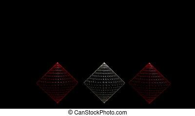 résumé, noir, cônes, vidéo, cône, wireframe, film, argent, 3d, arrière-plan., rouges, intro, conception