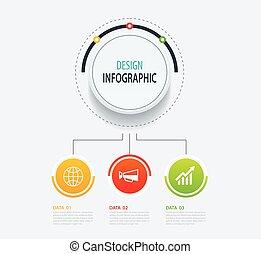 résumé, nombre, infographic, template., design., données, bannière, arrière-plan., 3, cercle, être, utilisé, business, flot travail, options, disposition, illustration, étape, toile, diagramme, vecteur, boîte, options