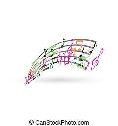résumé, notes, musique, fond, coloré