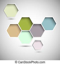 résumé, nouveau, hexagones, conception
