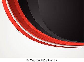 résumé, ondulé, arrière-plan noir, constitué, rouges
