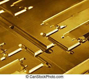 résumé, or, métallique